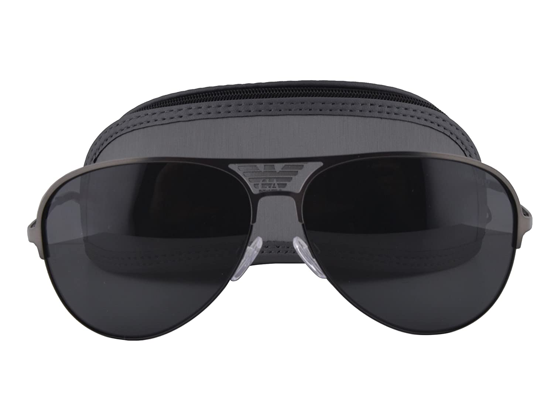 211b05efdf Amazon.com  Emporio Armani EA 2032 Sunglasses Matte Gunmetal Brown w Gray  Lens 3126 87 EA2032 For Men  Clothing