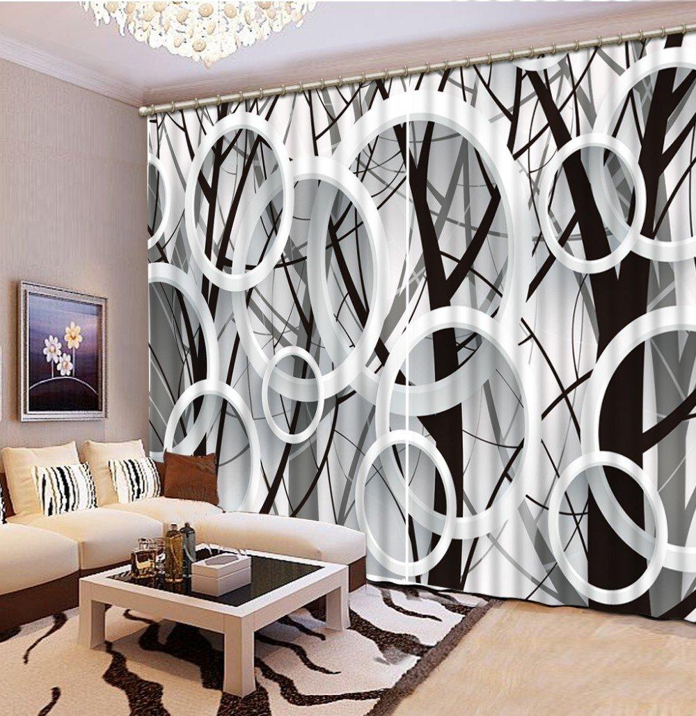 Wapel Moderne 3D-Filialen Kreis Fenster Vorhang Schwarz und Weiß 3D-Blackout Vorhang Für Wohnzimmer 3D-Vorhänge 240X320CM