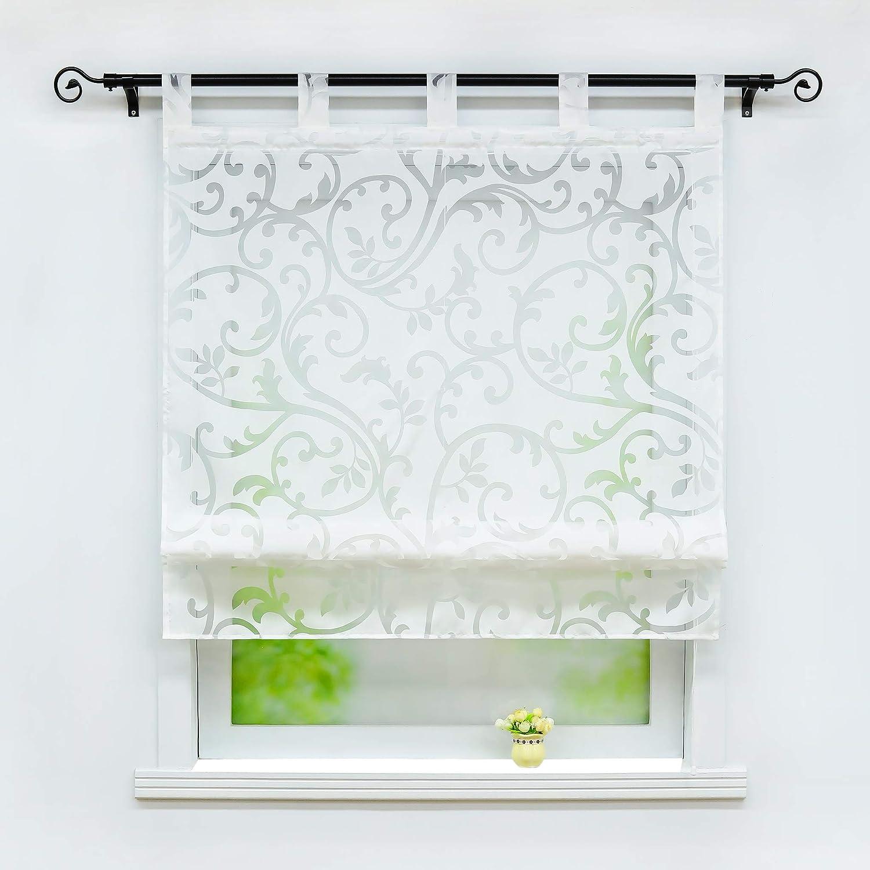 Joyswahl Jessica Roman Blind Burn-Out Curtains with Loops, White, BxH 60x140cm White BxH 60x140cm