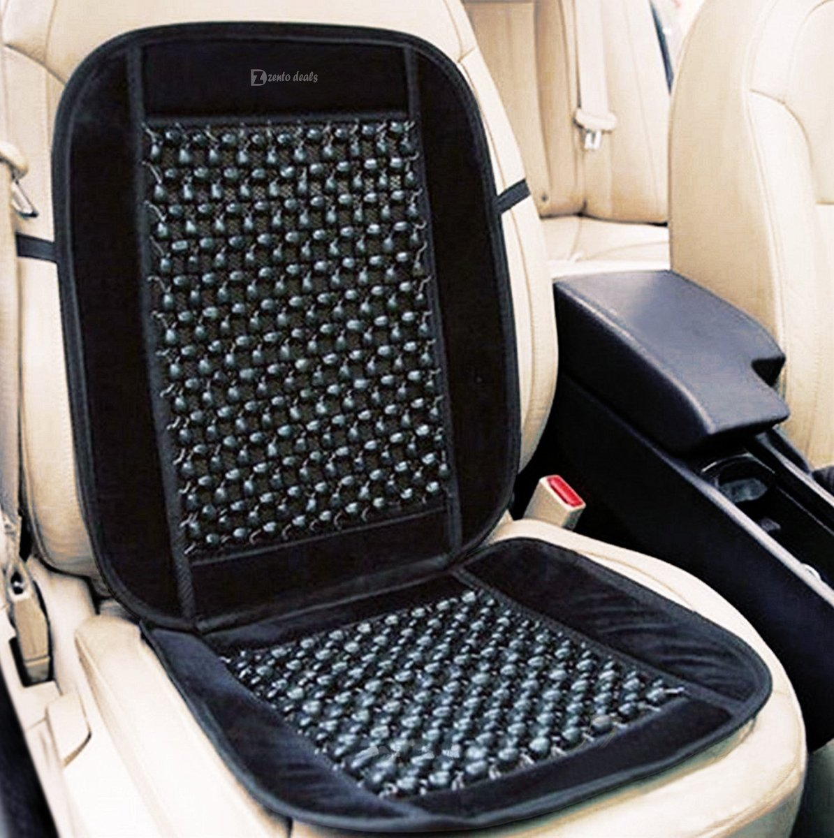 "Zento Deals Black Wooden Beaded Plush Velvet Seat Cover Premium Quality Ultra Comfort Massage Cool Car Seat Cushion 35""x17"""