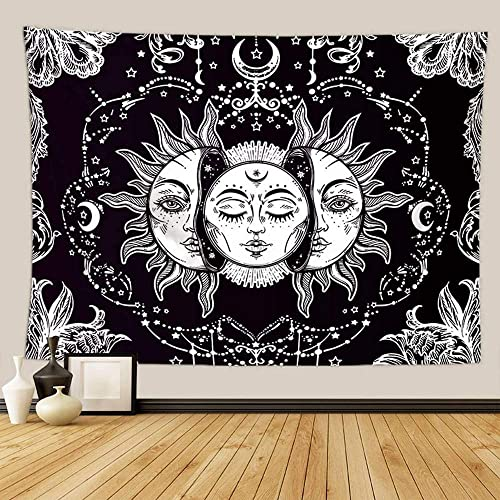 Sun and Moon Tapestry Burning Sun with Star Tapestry Psychedelic Tapestry Black and White Mystic Tapestry Wall Hanging for Living Room Bedroom 70.9X90.6 inches