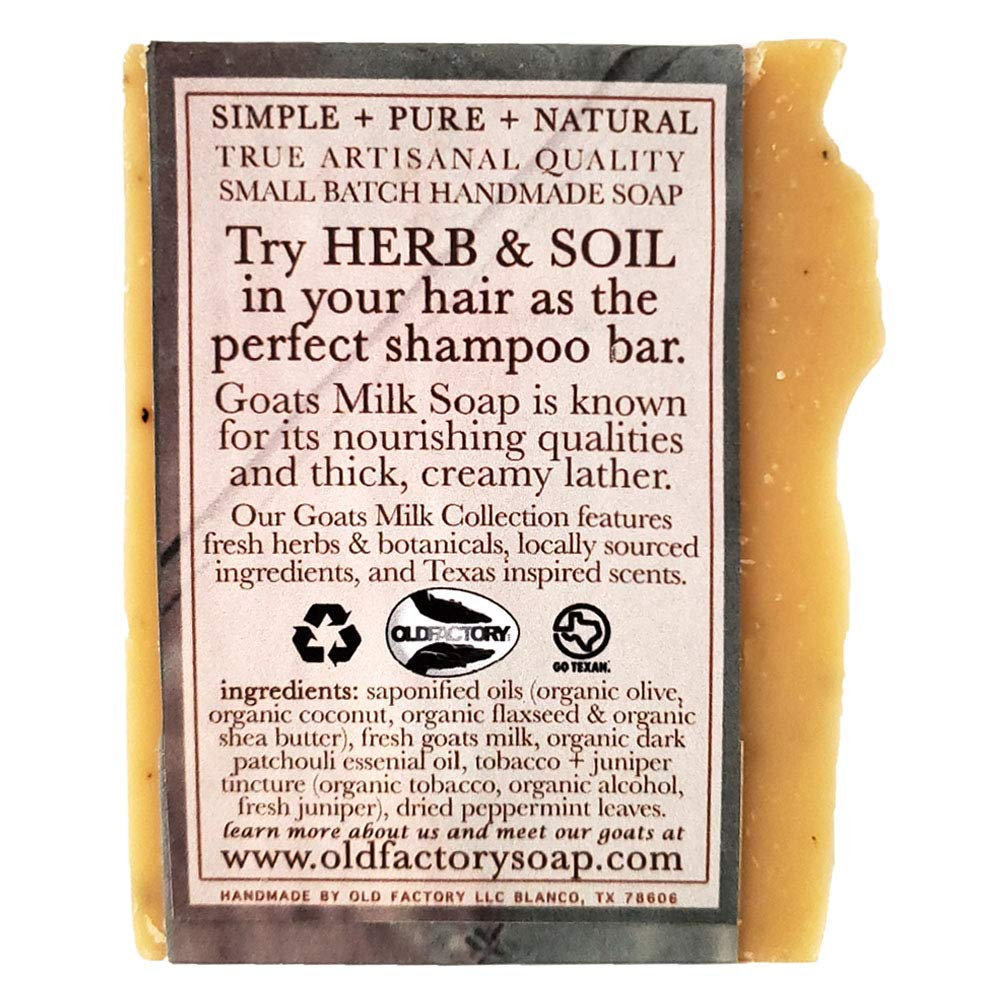 Herb and Soil Goat Shampoo Bar   All Natural Handmade Soap for Hair, Body and Face   Quality Small Batch Handmade in USA   Suitable for All Hair Type   Organic Solid Bar for Men and Women