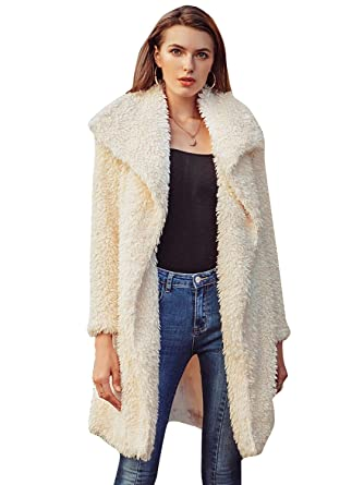 a4dcc152bd18 Simplee Women's Casual Faux Fur Long Coat Lapel Shaggy Open Front Jackets  Outwear Light Apricot