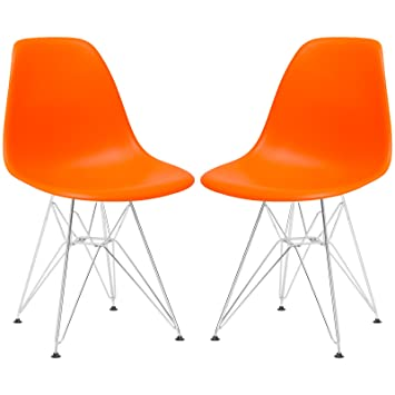 orange plastic chair. Poly And Bark Padget Side Chair, Orange, Set Of 2 Orange Plastic Chair C