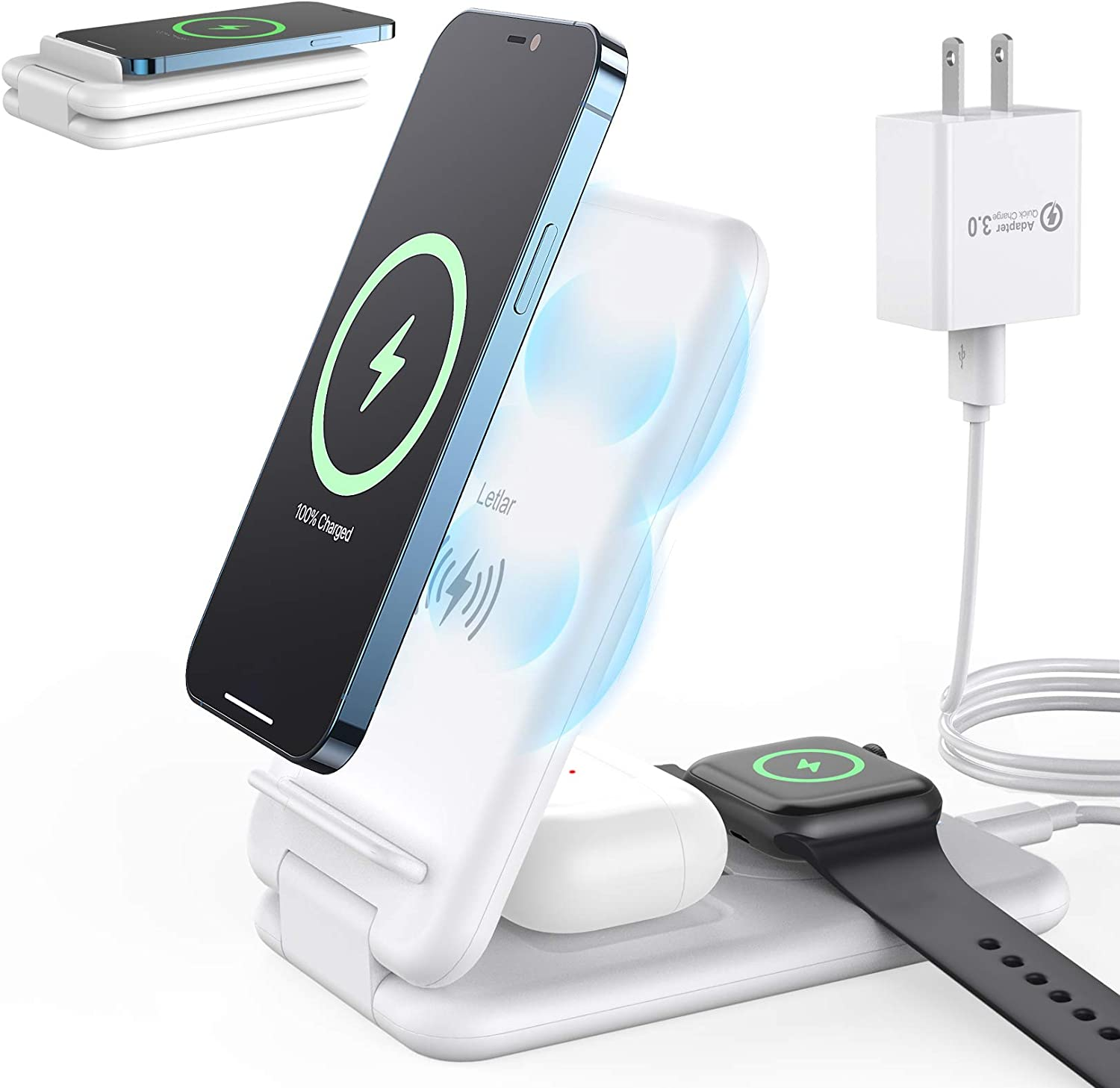 Wireless Charging Station, Letlar Foldable 3 in 1 Wireless Charger, Qi 15W Fast Charger Stand Compatible with iPhone 12/11/11 Pro/XR/Xs/X/8/8P/Samsung, iWatch SE 6 5 4 3 2, AirPods 2/Pro(White)