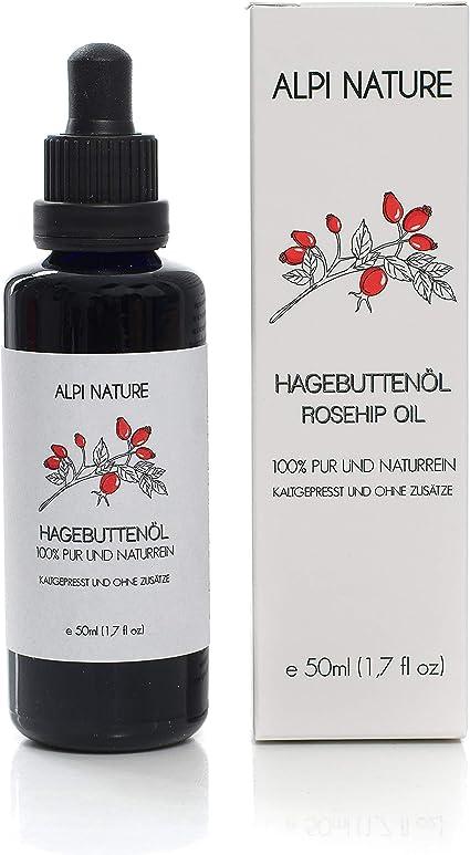 Aceite de escaramujo, Aceite de rosa mosqueta prensado en frío (50 ml), cosmética natural pura para la cara, la piel, el pelo y las uñas, rápida ...