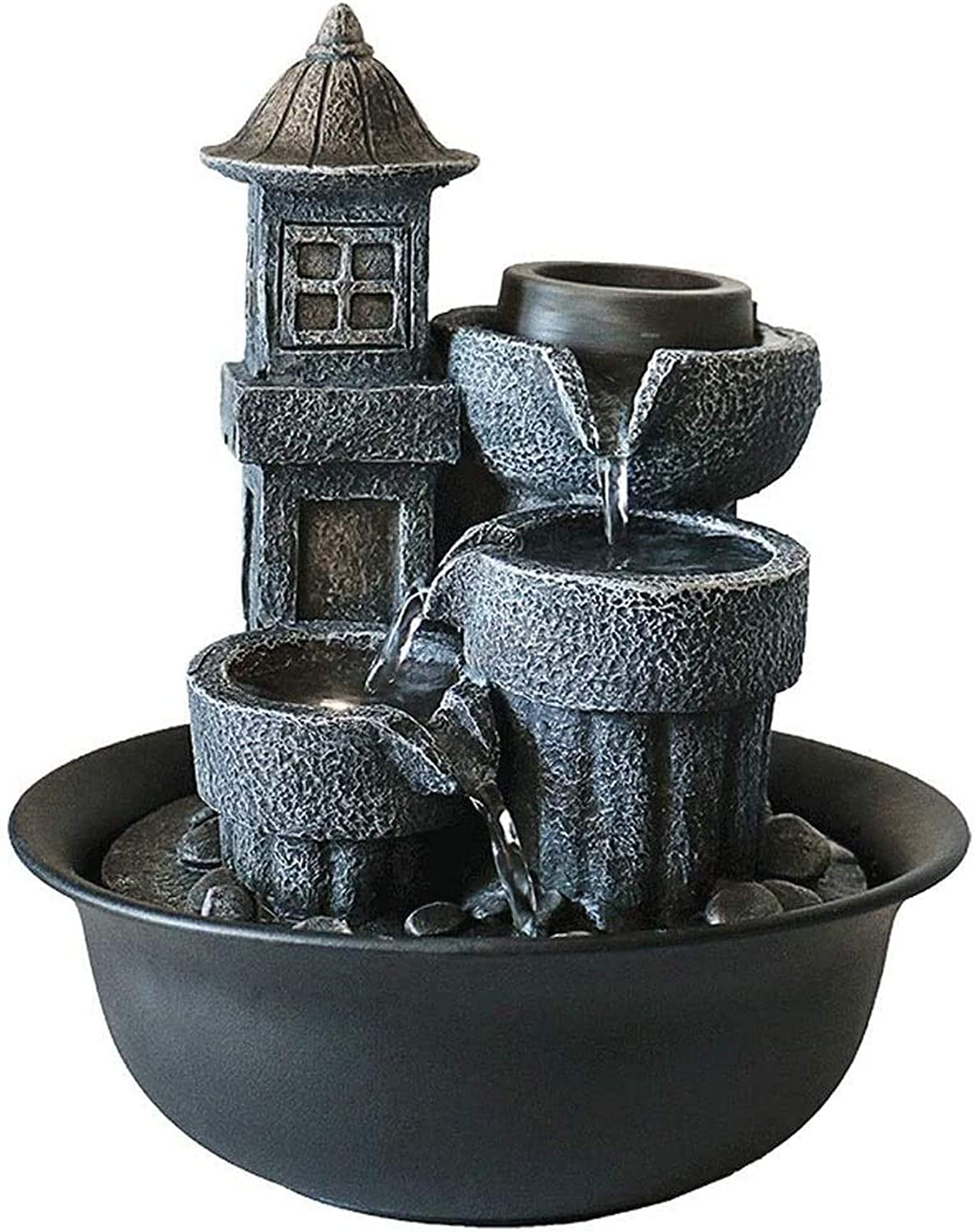 XHCP Indoor Fountain Tabletop Water Fountain Lighthouse Tabletop Fountain Living Room Office Desktop Decoration Housewarming Gift, Resin Desktop Waterfall