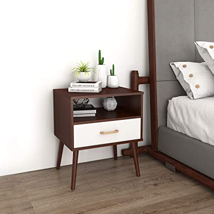 Lifewit Nightstand With 1 Fabric Drawer Bedside Table Bedroom Side Table Partical Board And Wooden Legs Easy Assembly And Sturdy Brown