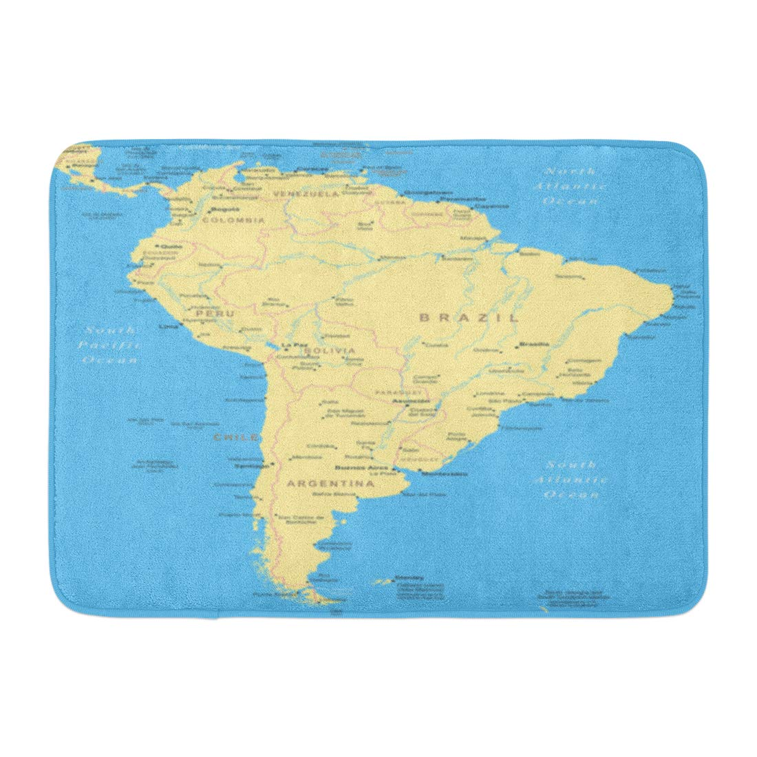 Aabagael Bath Mat Barbados Blue Central South America Map Highly Detailed Yellow Argentina Bolivia Bathroom Decor Rug 16'' x 24''