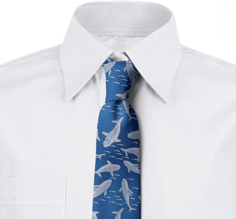 3.7 Ambesonne Mens Tie Sea Blue Pale Ceil Blue Smiling Carnivore Motifs Art