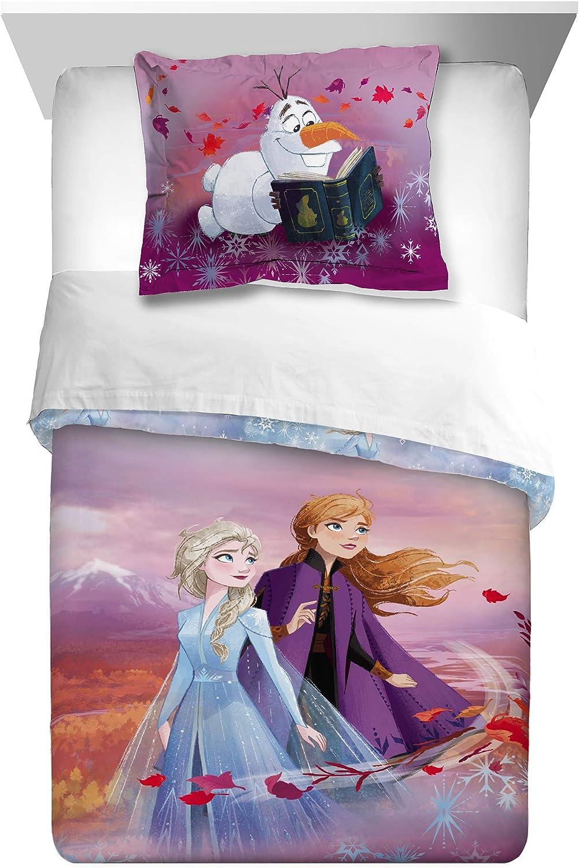 Disney Frozen 2 Spirit Of Nature Reversible Twin Full Comforter Featuring Elsa Anna Amazon Ca Home Kitchen