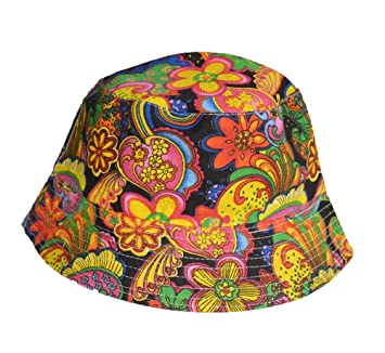 41c686ac964 Cool colourful psychedelic paisley bucket hat  Amazon.co.uk  Garden ...