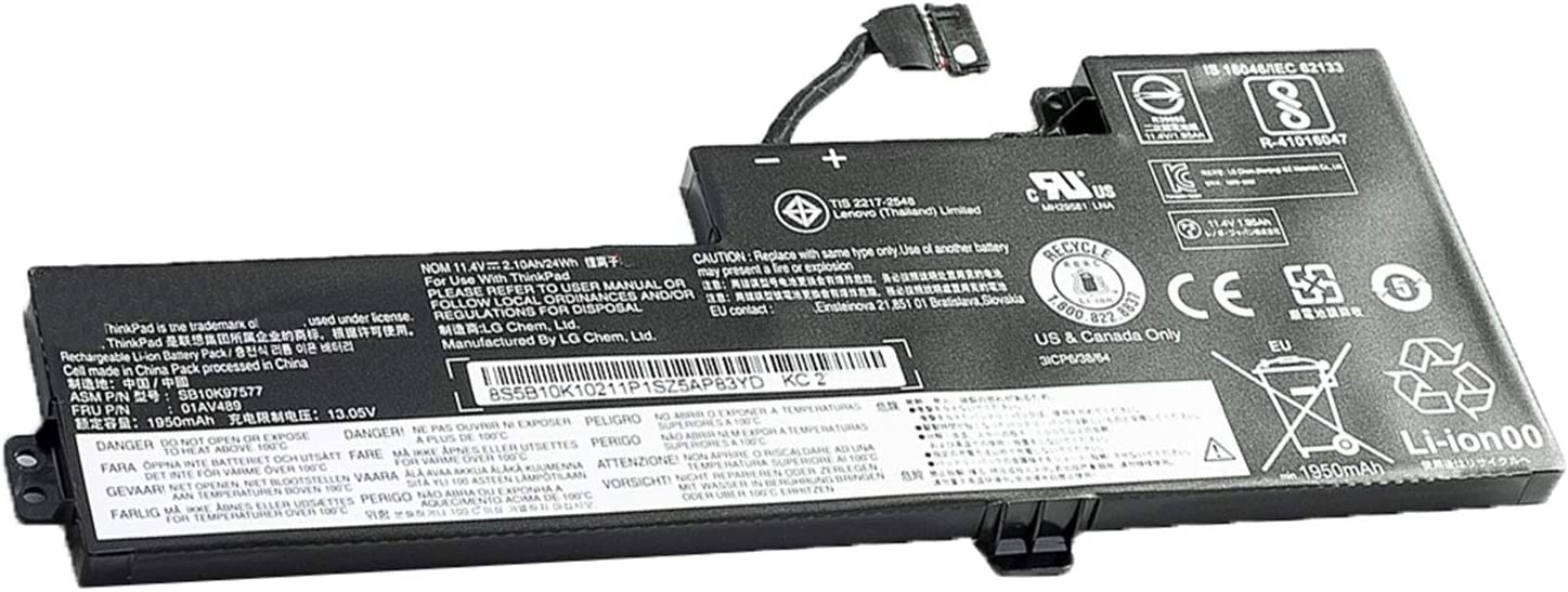 Dentsing 01AV489 11.4V 24Wh/2100mAh 3-Cells Laptop Battery Compatible with Lenovo ThinkPad T480 T470 A475 A485 TP25 Series Notebook SB10K97577 01AV419 SB10K97576 01AV421 SB10K97578 01AV420
