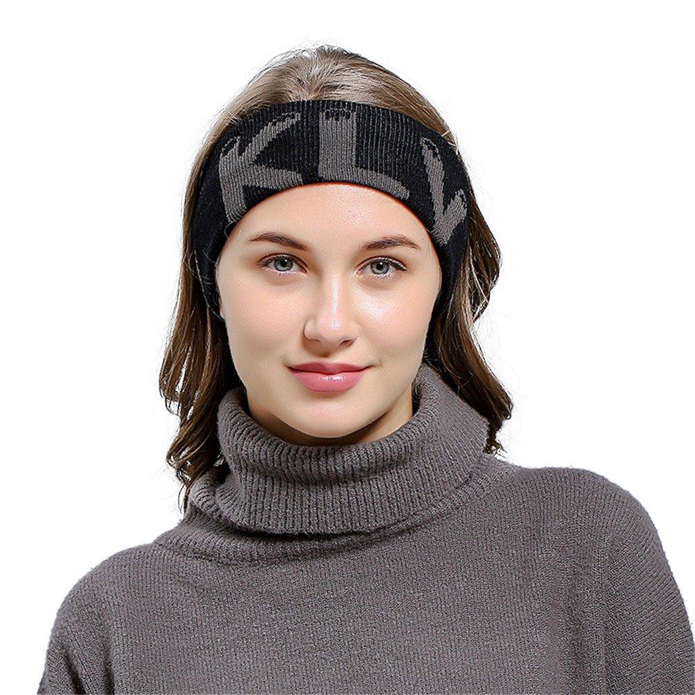 HULKAY Unisex Hair ball Knitting Headband Outdoor Minimalist Sports Style(Black)