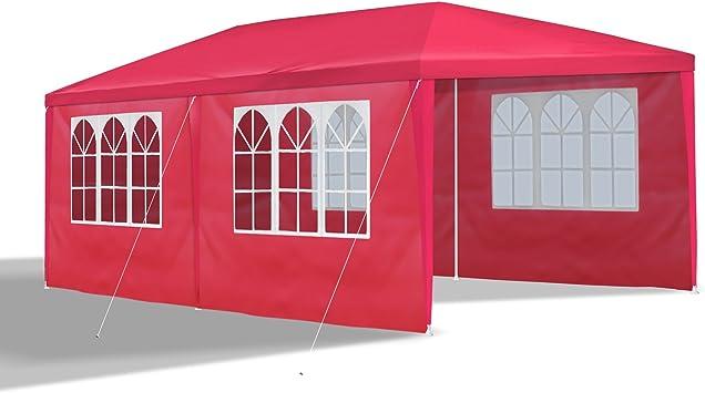 JOM Gazebo 3 x 6 m, Rojo, Mirador, pabellón, Carpa, Carpa, Carpa de jardín con 6 Paredes Laterales 110G PE: Amazon.es: Jardín