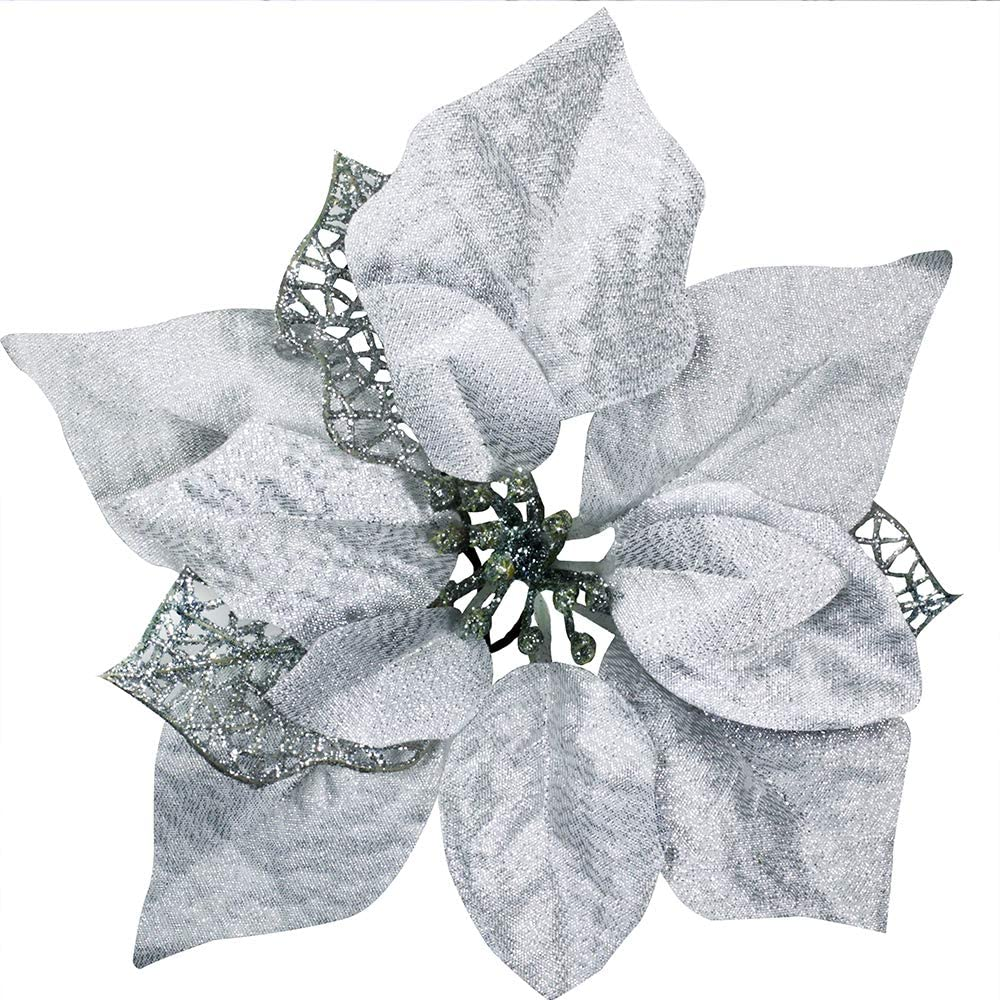 Amazon Com 18 Set 8 7 Wide Christmas Silver Glitter Poinsettia Flowers Picks Christmas Tree Ornaments For White Silver Christmas Tree Wreaths Garland Holiday Seasonal Wedding Decor White Gift Box Included Home Kitchen