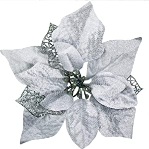 """18 Set 8.7"""" Wide Christmas Silver Glitter Poinsettia Flowers Picks Christmas Tree Ornaments for White Silver Christmas Tree Wreaths Garland Holiday Seasonal Wedding Decor White Gift Box Included"""