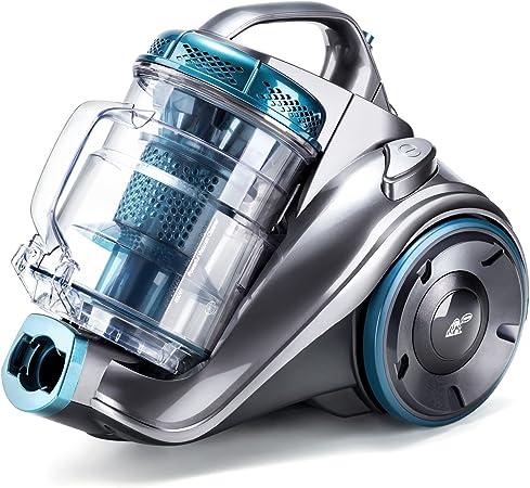 PUPPYOO WP9002F Aspirador sin Bolsa (800W, Incluye 3 cepillos, Radio de operación de 7,5m, contenedor de Polvo de 2,0L, Filtro HEPA Lavable) Azul y Gris [Clase de eficiencia energética A] (Azul 1):