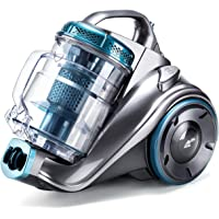 PUPPYOO Aspirador sin Bolsa WP9002F (800W, Incluye 3 cepillos, Radio de operación de 7,5m, contenedor de Polvo de 2,0L, Filtro HEPA Lavable) Azul y Gris [Clase de eficiencia energética A]