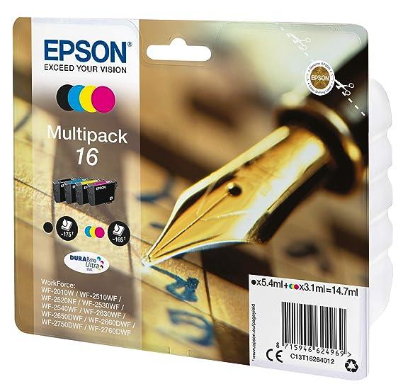 Epson C13T16314012 - Cartucho de tóner adecuado para WF2010, color negro, paquete estándar, XL válido para los modelos WF-2010W, WF-2510WF y otros, Ya ...