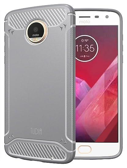 check out e2588 5ff57 TUDIA Motorola Moto Z2 Play Case, Carbon Fiber Design Lightweight [TAMM]  TPU Bumper Shock Absorption Cover for Motorola Moto Z2 Play (Gray)