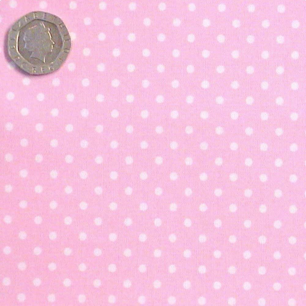 PALE BABY PINK /& WHITE POLKA DOT FABRIC 3mm SPOT 100/% COTTON SPOTTY X HALF METRE