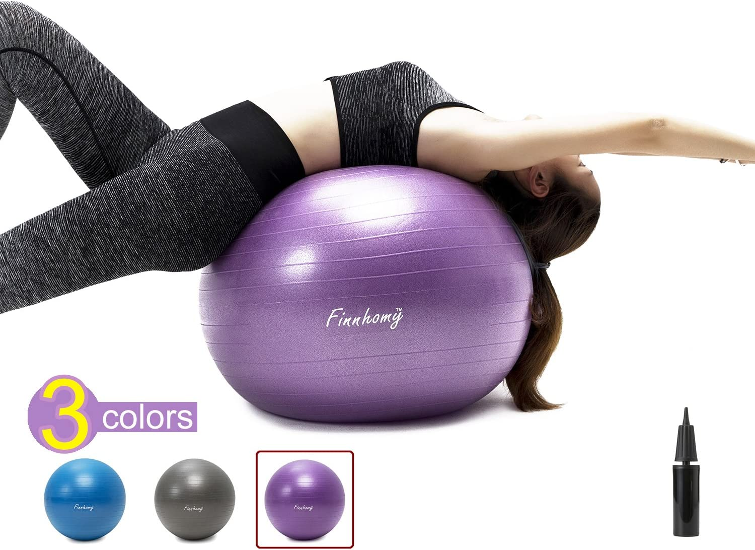 Finnhomy Exercise Ball Multiple Colors for Fitness, Stability, Gym, Balance Yoga, Yoga Ball Chair, Balance Ball, Birthing Ball Swiss Ball Workout with Pump Physical, Office, Home