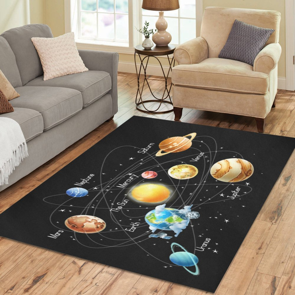 InterestPrint Solar System Childrens Educational Area Rug Floor Mat 7' x 5' Feet, Playtime Learning Outer Space Galaxy Nebula Throw Rayon Fiber Carpet Rugs for Home Living Dining Room Decoration