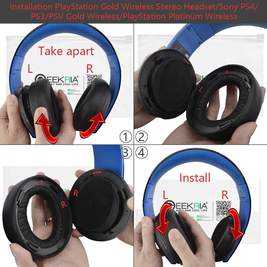 Geekria - Almohadilla de repuesto para auriculares estéreo inalámbricos PlayStation Gold / Sony PS4 / PS3 / PSV de repuesto para auriculares inalámbricos de ...