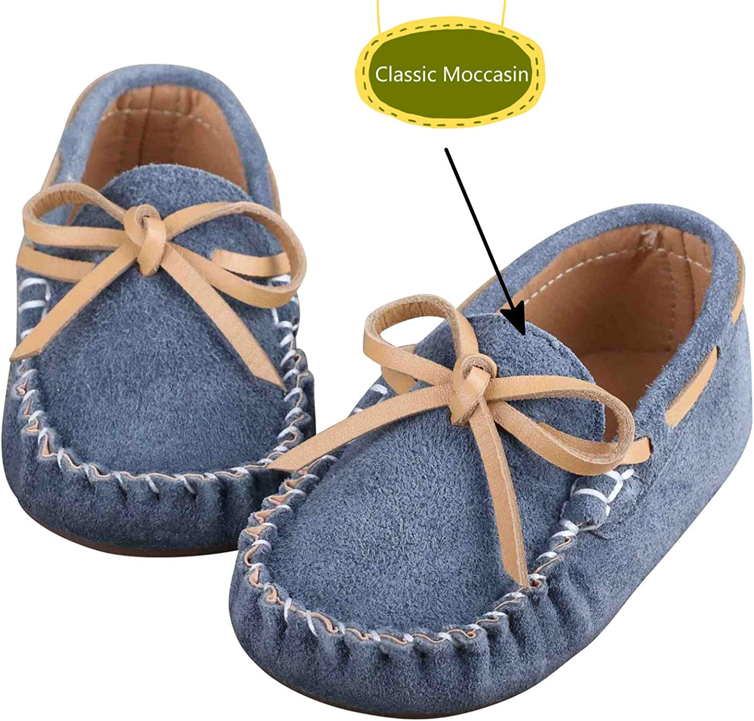 Toddler Boys Girls Suede Moccasin Loafers Slip on Flats Boat Shoes Soft Indoor Outdoor Slippers