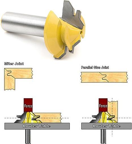 Toupie /à onglet 45/degr/és avec tige en acier 6,35/mm outil de coupe pour travail du bois SROL