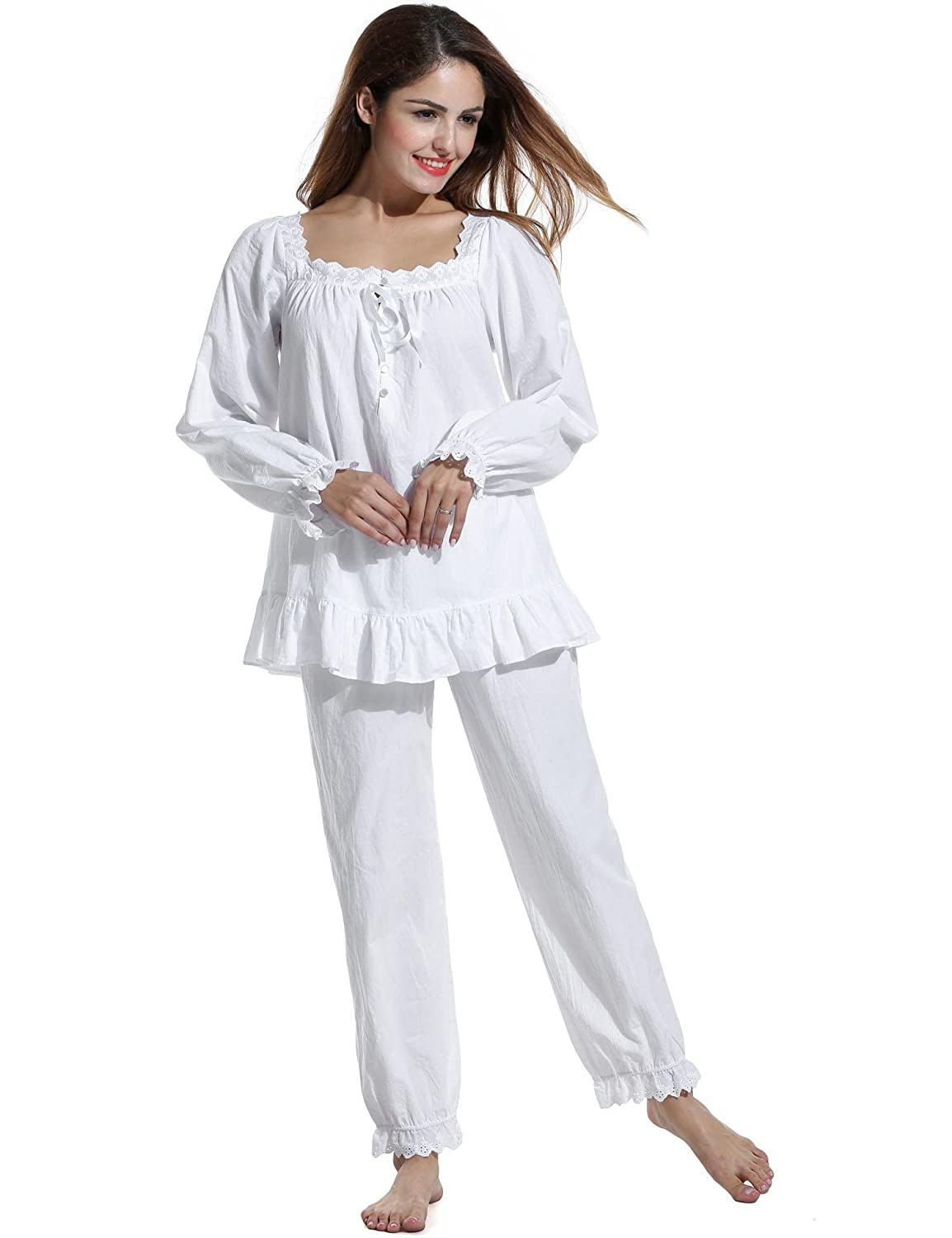 da2ee5fd864 L amore Womens Victorian Comfort Cotton Pajama Set Comfort Sleepwear pjs  with Pj Pants at Amazon Women s Clothing store