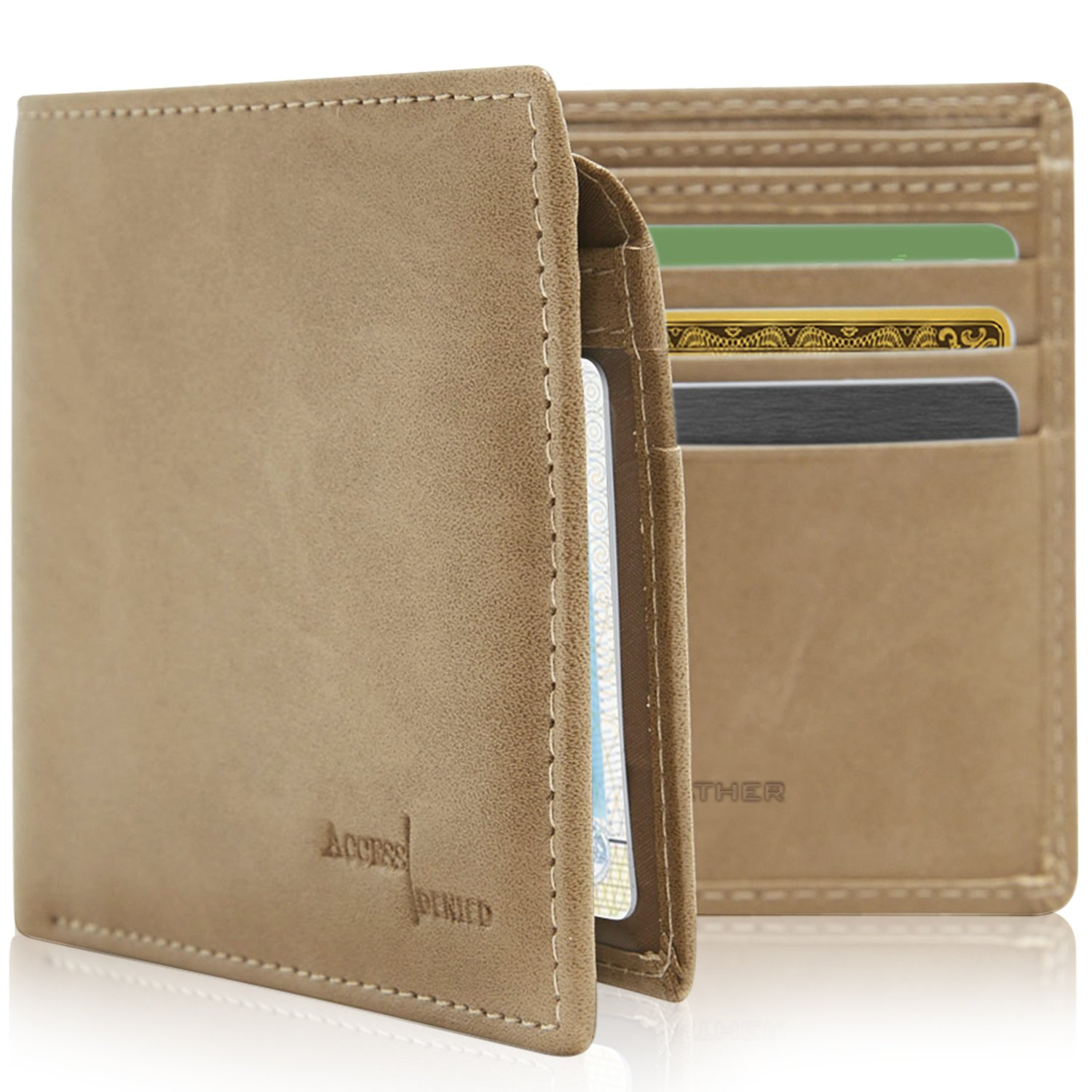 Vegan Leather Wallets For Men - Bifold Mens Wallet RFID Blocking With ID Window Cruelty Free Taupe