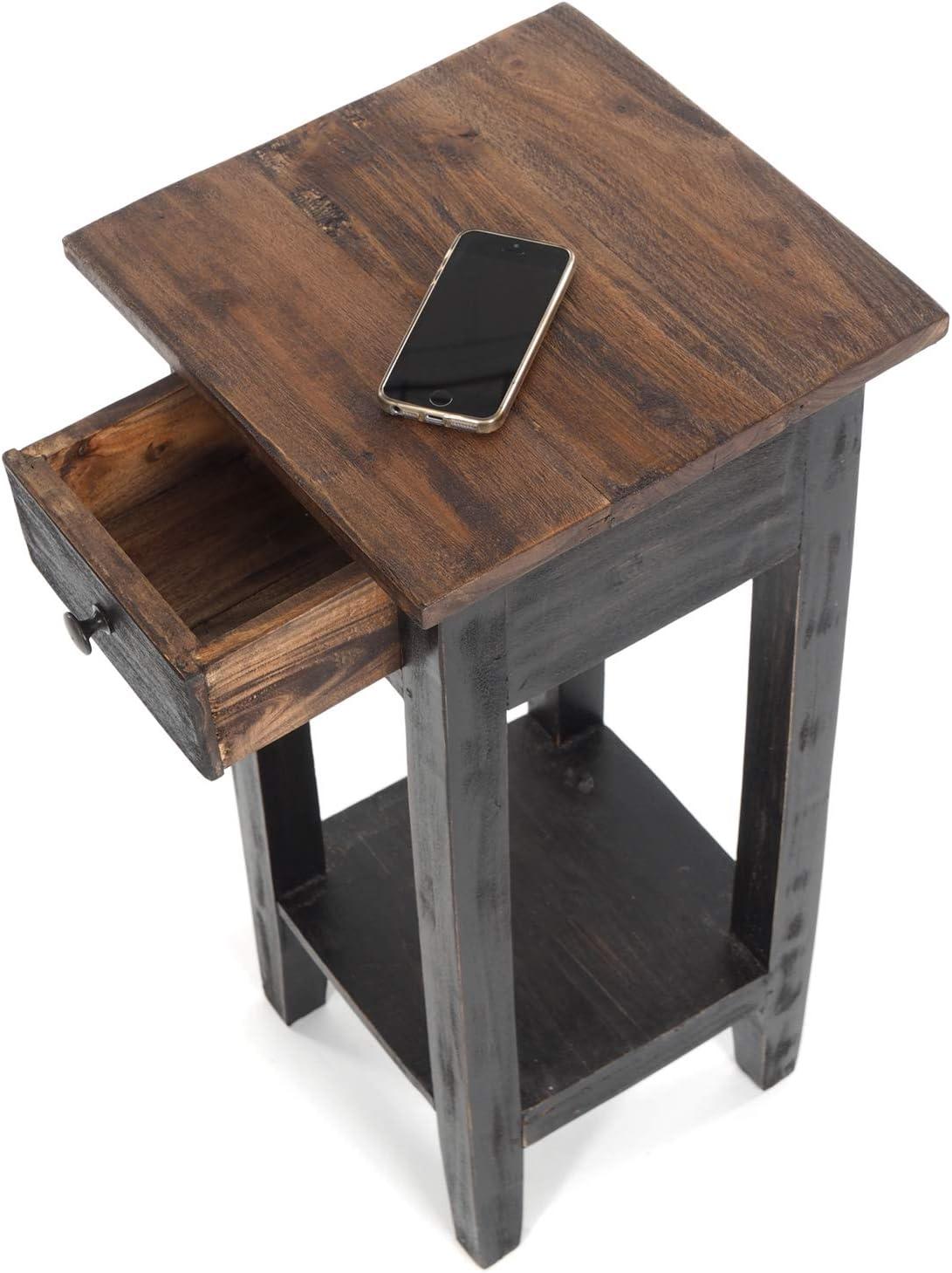 Stile Shabby Tavolino Vintage in Legno di Mogano Riciclato 65 x 31 x 31 cm A x L x P DESIGN DELIGHTS Drawer 65