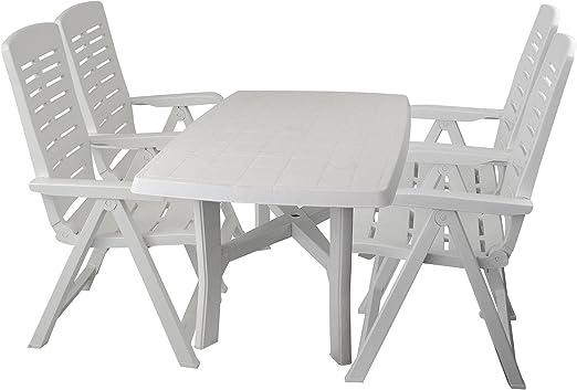 5 piezas. Resistente a la intemperie jardín muebles de jardín mesa plástico mesa 138 x 88 cm + plegable jardín – Silla plegable (ajustable en 5 plástico Terraza Muebles de Jardín Grupo