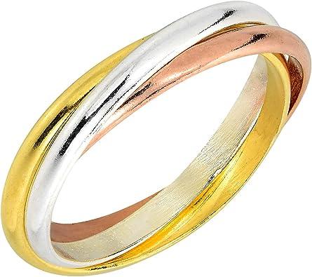 Aeravida Tricolor Triple Tangle Hoop 925 Sterling Silver Ring Amazon Com