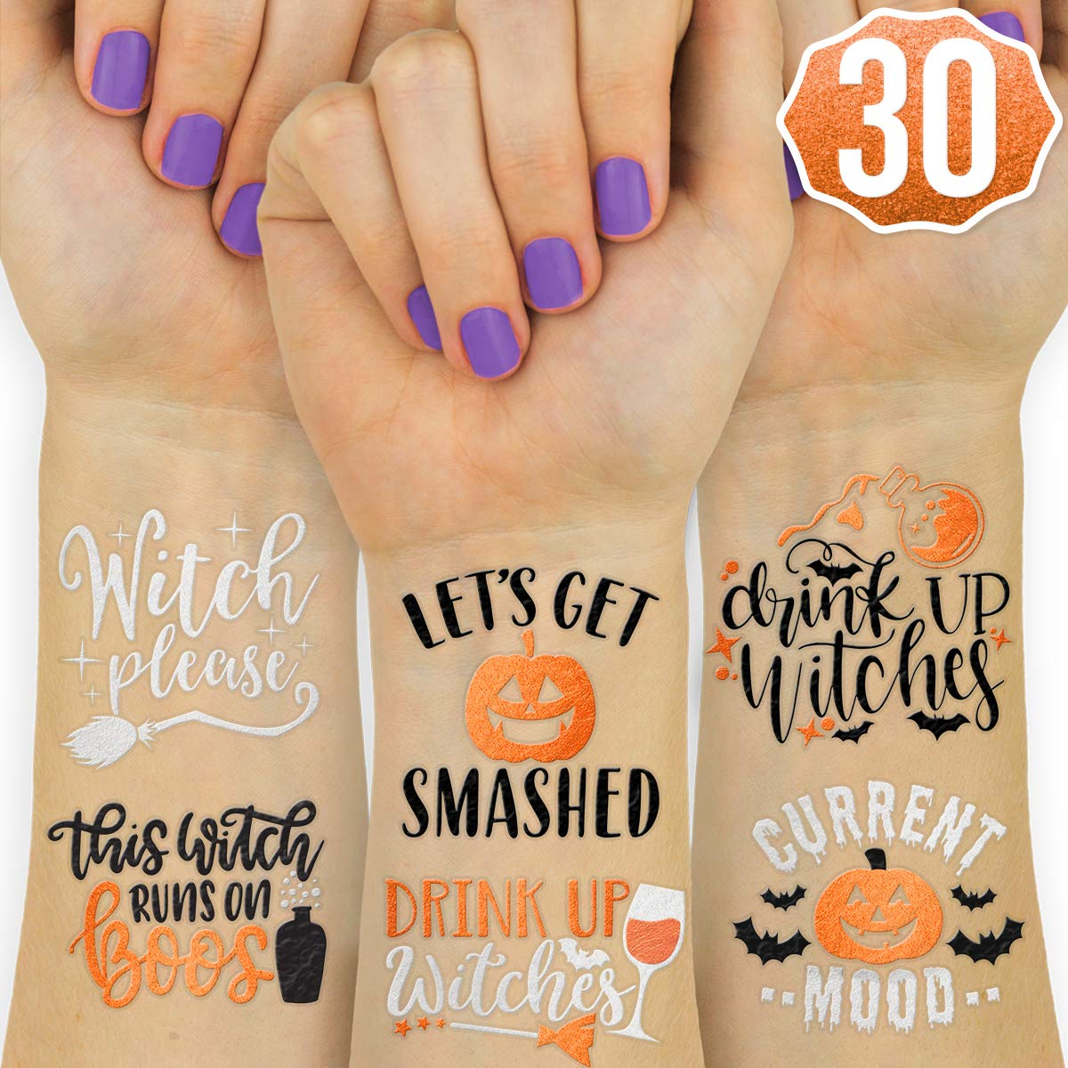 xo  Fetti Halloween Decorations Temporary Tattoos - 30 styles   Drink Up Witches  Witch Please  Halloween Party Supplies