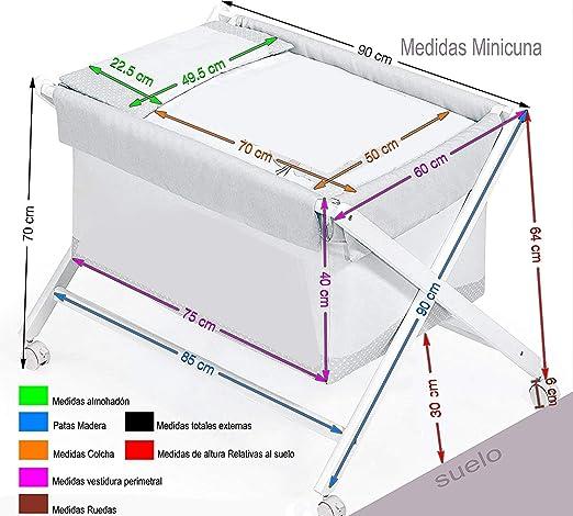 Minicuna Tijera madera Luna Universo Menta Colcha Almohada incluye Textil exterior Colch/ón
