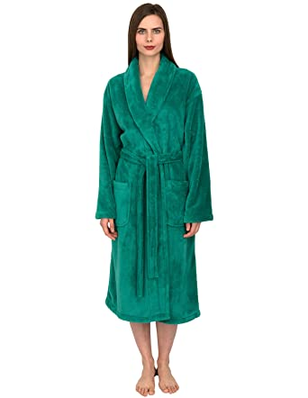 TowelSelections Women s Super Soft Plush Bathrobe Fleece Spa Robe  X-Small Small Green Lake bb3dd32a1