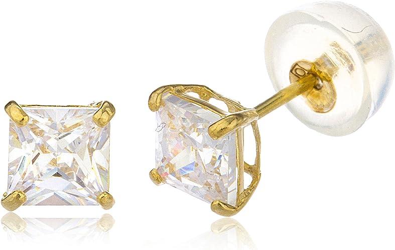 14k White Gold Square CZ Cubic Zirconia Stud Earrings Basket Setting
