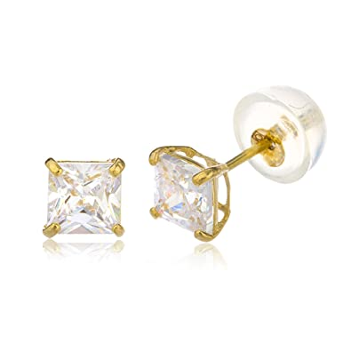 9a10c3e73 Amazon.com: 14k Yellow Gold Square Basket Setting Cz Stud Earrings with Silicone  Back (GO-469): Jewelry