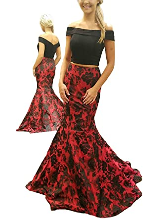 wildestdreamsbridal Black and Red Two Piece Off The Shoulder Floral Print Prom Dresses 2018 Long Mermaid