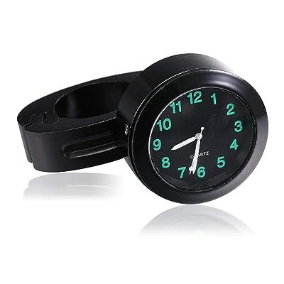 "Universal Waterproof Motorcycle Handlebar Mount Clock Fit 7/8"" or 1"" Handlebar Black Dial Watch for Harley/honda/yamaha/street Bike: Automotive"