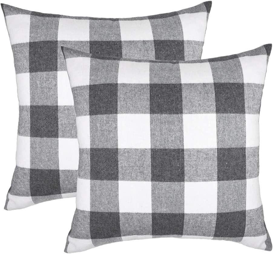 4TH Emotion Set of 2 Farmhouse Buffalo Check Plaid Throw Pillow Covers Cushion Case Cotton Polyester for Sofa Grey and White, 18 x 18 Inches
