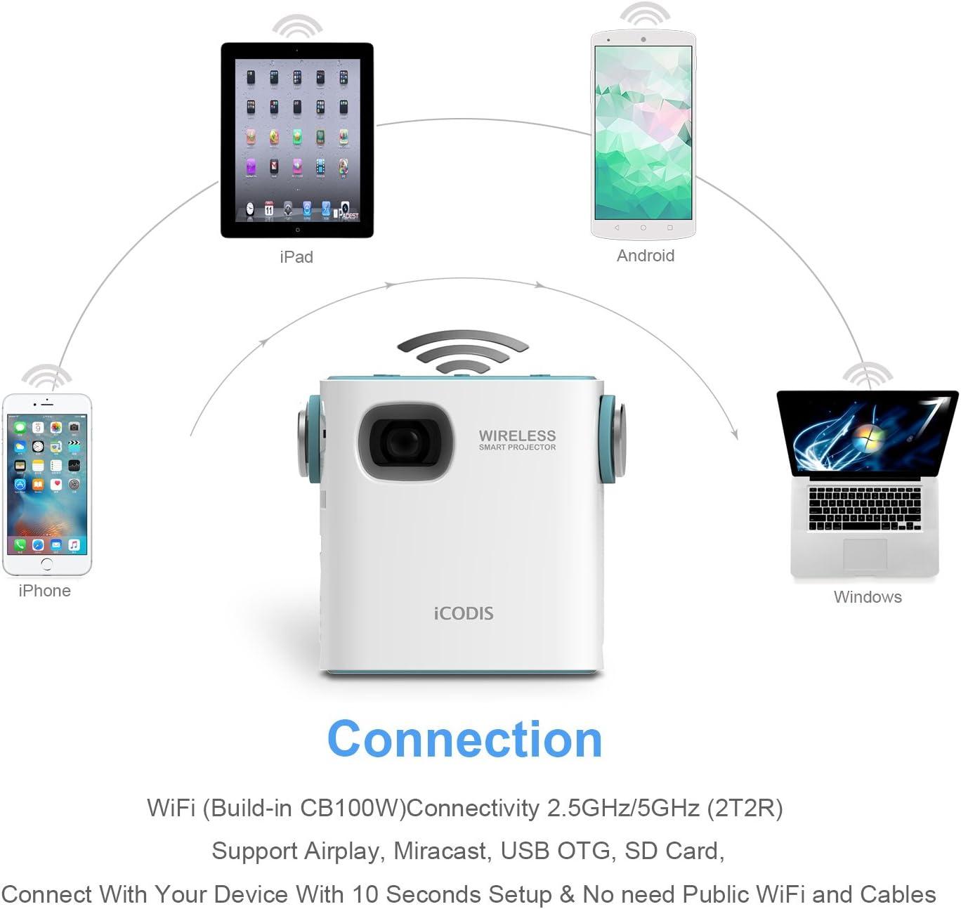 iCODIS CB-100W móvil Proyector DLP Pico de cine en casa, WIFI ...