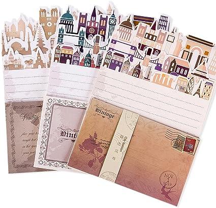 Jia Hu 72pcs ciudad carta escritura papelería papel y sobres DIY ...