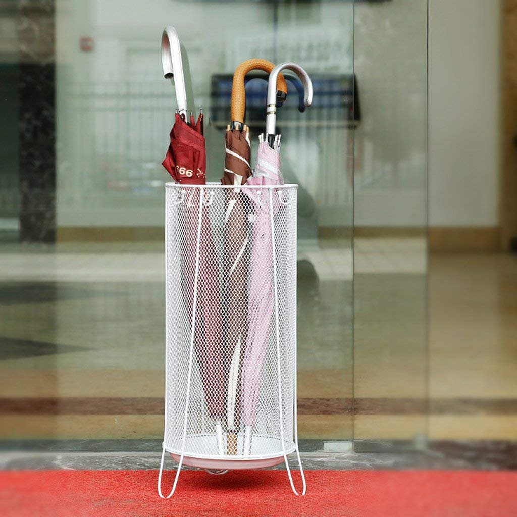 HLL White Umbrella Stand(Umbrella Walking Stick Stand Storage Holder Rack) with Hooks and Walking Stick Stand Round for Canes/Walking Sticks 22X22X60Cm Round