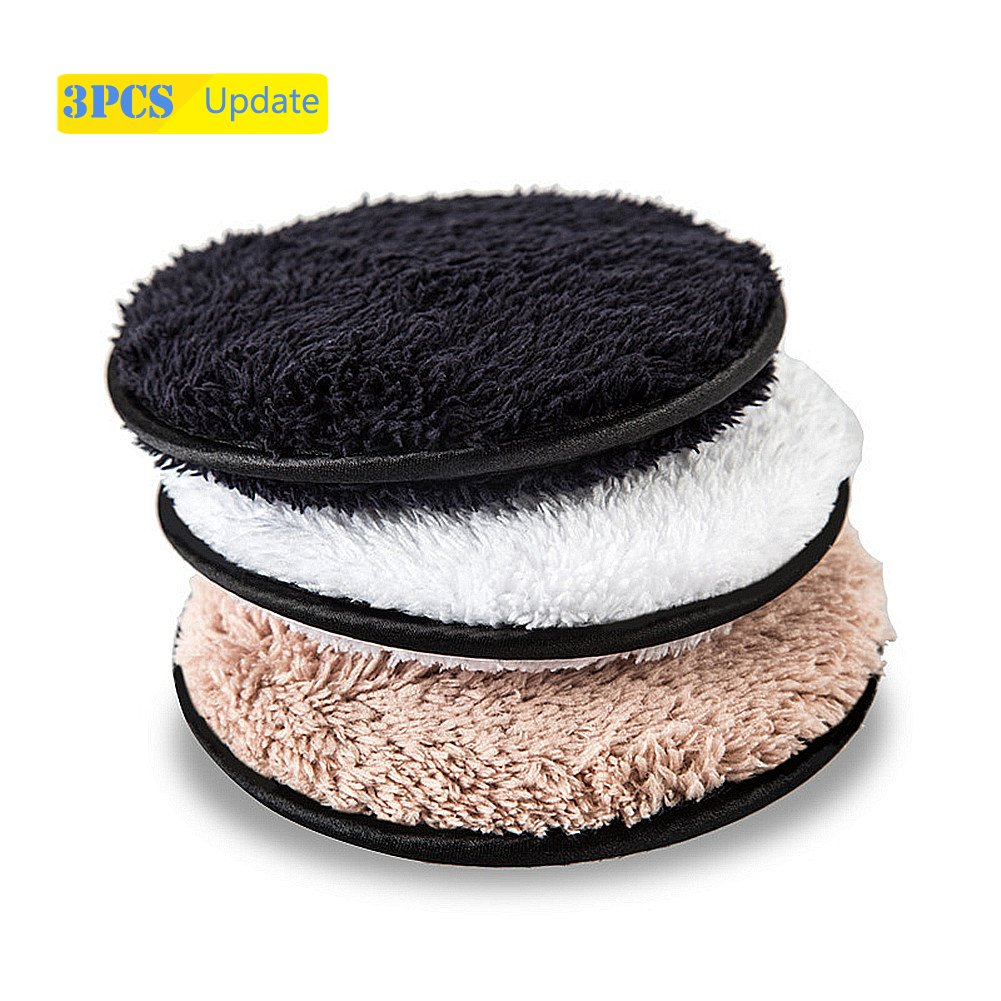 Reusable Makeup Remover Pads, Premium Microfiber Cloth, Removes Makeup with Just Water for Face, Oil Free, Chemical Free, Hypoallergenic 3 Pack