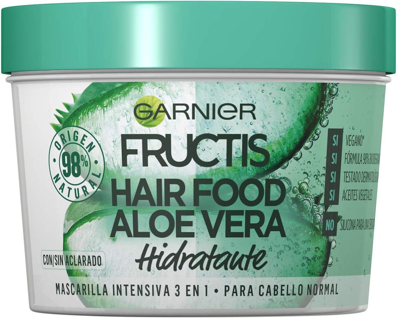 Garnier Fructis Hair Food Mascarilla Capilar 3 en 1 Aloe Vera Hidratante para Pelo Normal Pack de 3, 330ml x 3 : Total de 1170ml