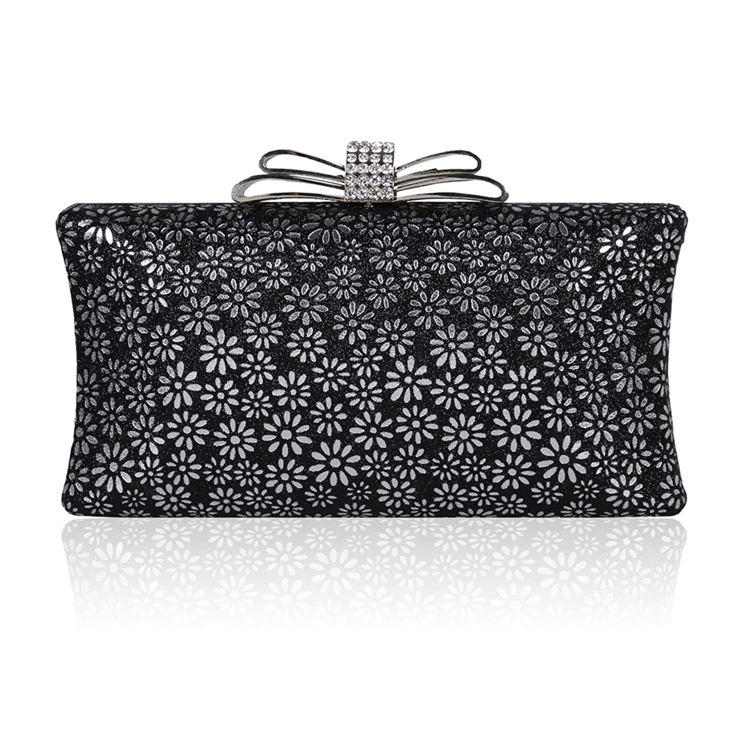 Damara Womens Hardcase Glitter Cut-out Allover Evening Bag